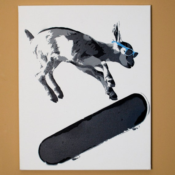 spray paint stencils skater kid goat stencil spray paint from handmade 29454