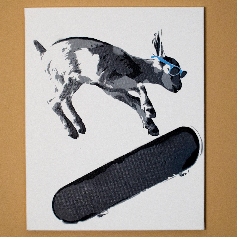 skater kid goat stencil art spray paint from handmade. Black Bedroom Furniture Sets. Home Design Ideas