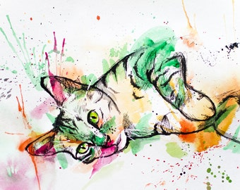 Watercolor Tabby Cat - Original 9x12 Fine Art Kitten Painting in Multicolor in Splash Art Mixed Media - Acrylic Pen and Ink & Water Color