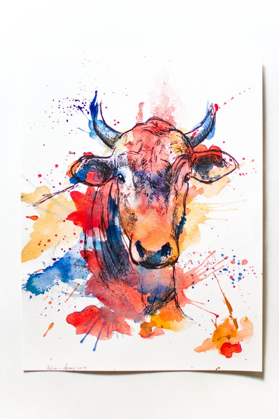 Watercolor Bull Original 9x12 Fine Art Painting Of Cow In