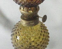 Amber Hurricane Oil Lamp Hobnail