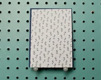 Blank Greetings Card // Blue Floral Pattern // Handmade