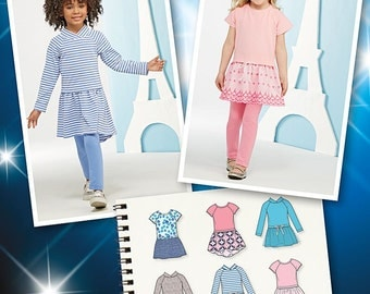 Simplicity Pattern 1023 Child's Dress with Knit Bodice and Leggings