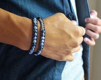 Sodalite Round Stone Beaded Leather Double Wrap Bracelet