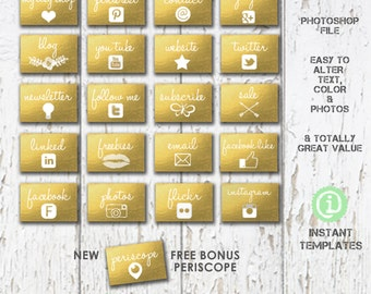 SALE Facebook Apps Tabs Social Media Icons Photoshop Template - A1A006 You'll receive 20 files