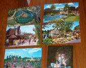 Vintage 1967 Disneyland set of 6 Postcards,Parking Pass,Coupon for Attraction Ride and Disneyland After Dark Entertainment Schedule