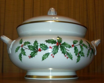 Vintage Lenox Holiday Fine China (Dimension shape) Gold Tureen with Embossed Sculpted Holly Lid - Holly and Berries Design