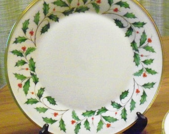 Vintage Lenox Holiday Fine China Dimension Shape Gold Dinner Plate - Holly and Berries Design