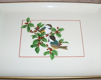 Vintage Lacquerware Small Serving Tray with Chickadees and Festive Holly and Berries Design Trimmed with Gold from Otagiri Japan