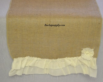 1013 Burlap Cotton Table Runner 14 Inches Wide 108 Inches Long