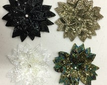 Beaded and Sequinned Sew-on Appliqué Flower. Beaded Trims,Beaded Appliqué,Beaded Motifs.