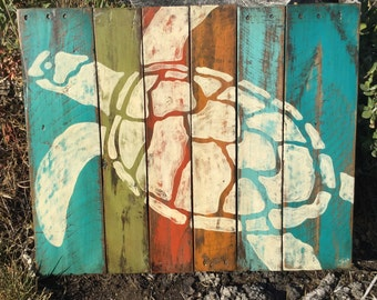 Rustic colorful sea turtle art