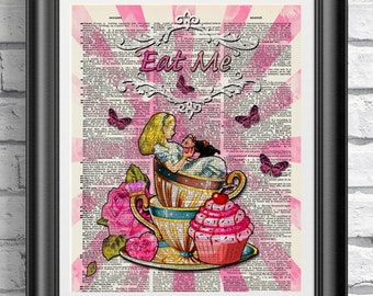 Alice in wonderland Print, Dictionary book page art, Eat Me cupcake Wall decor, Pink wall art, mixed media print, Gothic Lolita decor