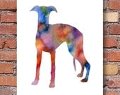 Whippet Art Print - Abstract Watercolor Painting - Wall Decor