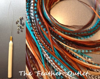 Feathers Hair Extensions Kit Lot 10 Grizzly XL Turquoise Natural Browns NBT KIT