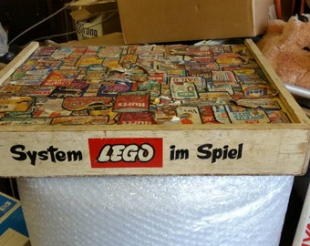 Vintage German Wooden Lego Box with Wacky Packages