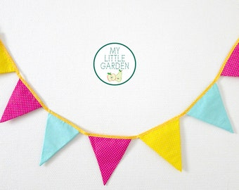 Garland vitamin pennant pink, green, yellow - decorating bedroom child to personalize