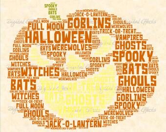 HALLOWEEN Word Cloud, Pumpkin Image Instant Download, Printable Pumpkin Word Cloud,Halloween Word Art, Png & Jpg Files, Halloween Word Cloud