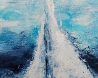 Original oil and acrylic on canvas hand painting. 12x36 inch sailboat.