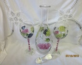 Painted Wine Decanter with two Wine Glasses, a set of 3 pieces, made in China