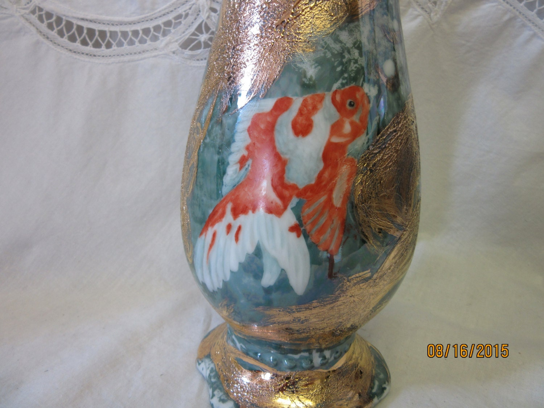 Asian koi fish vase gold fish koi with luster by for Koi fish vase
