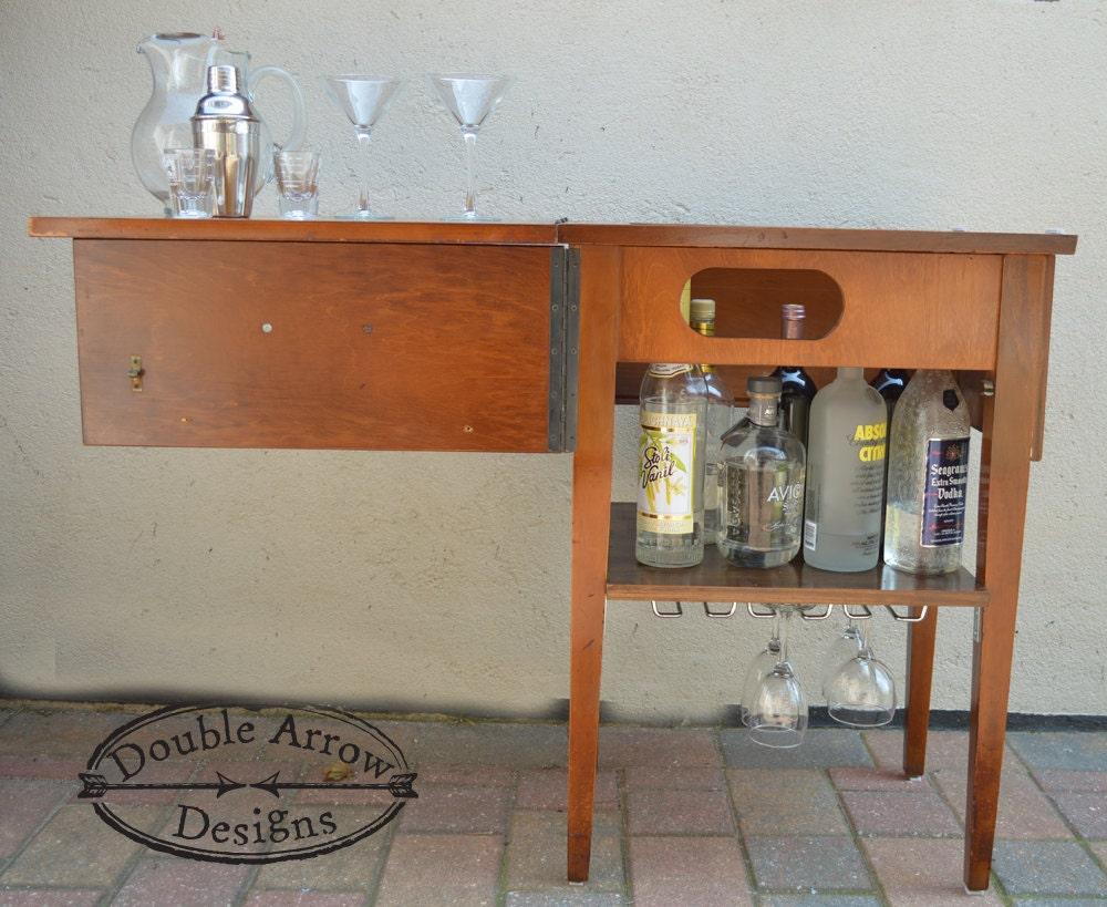 Repurposed Sewing Table Mini Bar