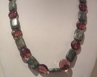 Necklace 48cm Features Ocean Fosssil rectangular Gemstone beads. Followed by alternating Rose Quarts Gemstone beads