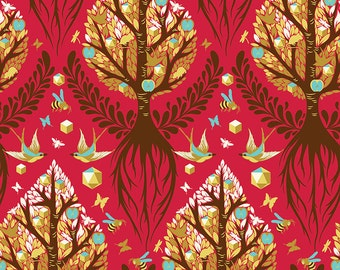 Tula Pink/Free Spirit Tree of Life Cinnamon from Birds and Bees Collection In Stock