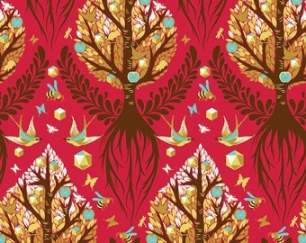 New Release by Tula Pink/Free Spirit Tree of Life Cinnamon from Birds and Bees Collection In Stock