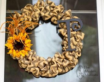 Chevron Sunflower wreath