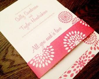 Custom Printable Wedding Invitation Set - Coral Burst design