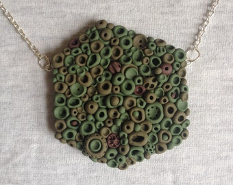 Polymer green khaki brown camouflage statement doodle necklace