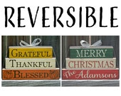 Fall Decor, Christmas Decor, Wood Fall Decor, Wood Christmas Decor, Grateful Thankful Blessed, Reversible Decor