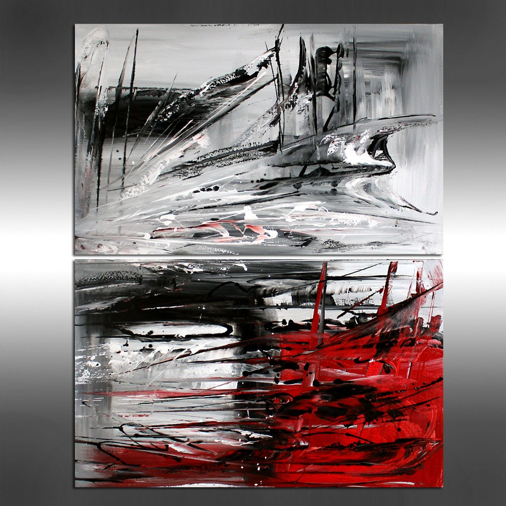 Red modern painting abstract art red black white by for Abstract painting on black canvas