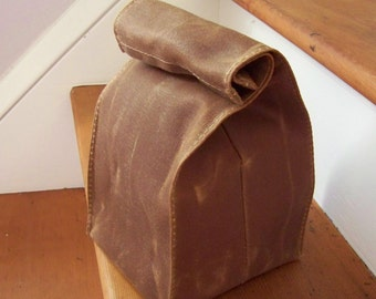 Lunch Bag / Sack / Waxed Canvas / Vegan