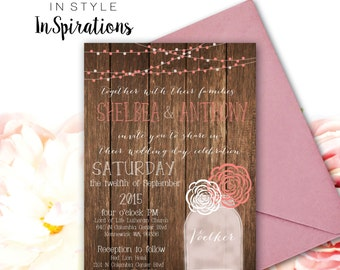 Personalized DIGITAL file: Wedding Invitation- Rustic with mason jar and flowers