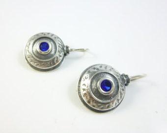 Blue Stone Earrings, Sterling Silver Hook Earrings, Round Earrings, oxidized silver earrings