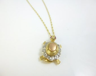 Tortoise Pendant Necklace, Rose Gold Jewelry, 14kt Gold Necklace, Animal Jewelry, Tri color Pendant