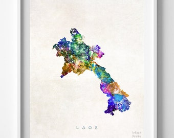 Laos Map Print, Vientiane Print, Laos Poster, Vientiane Map, Watercolor Painting, Map Art, Wall Decor, Travel Poster, Back To School