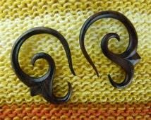 Wood 8 gauge Earrings -  3mm / 8g Hanging Sono Wood Plug Earrings -  3 mm Wooden Plug Hanging Tapers *D020