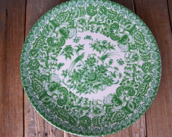 White Green Asian Oriental Large Plate Butterfilies Birds Floral