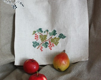 Kitchen towel  with hand embroidery Red currant.