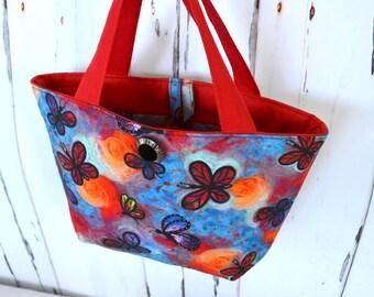 SALE little girls bag, butterfly purse, Red blue butterfly bag, tote for little girl, small handbag, clearance, girls handbag, purse
