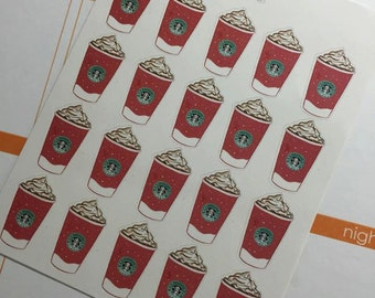 Red Holiday Coffee Cup Planner Stickers by Ella Couture by Jessica