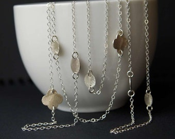 "Sterling Silver Brushed Disc and Clover 33"" Long Necklace, Sterling Silver Brushed Disc Necklace, Opera Length necklace"