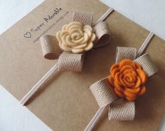 Felt Flower Headband in Fall Colors or choose YOUR color - Newborn Headband, Baby Headband, Toddler Headband, Girls Headband