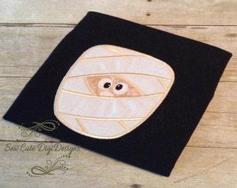Cute Halloween Mummy Applique Design