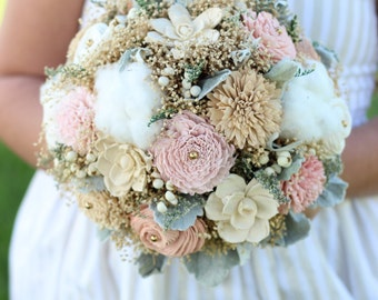 Wedding Bouquet,Cotton/Tan/Pinks Bridal Bouquet, Romantic Bridal Bouquet, Alternative Bridal Bouquet, Keepsake Bridal Bouquet,Winter Bouquet