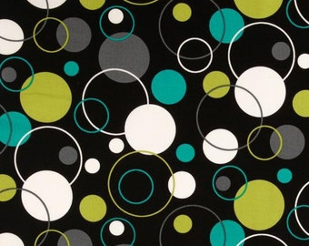 Groovy Guitar Hoopla Dot Lagoon by Michael Miller.  100% Premium designer cotton - Mulit dots, fabric by the yard, quilting fabric