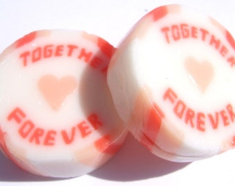 Orange and Peach Wedding Favour Rock sweets with Together Forever in Peaches and Cream Flavour
